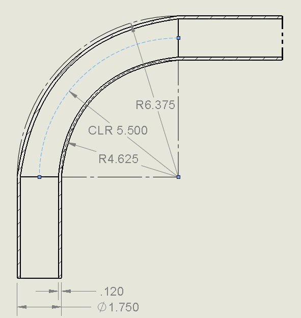 calculate bend radius for pipes